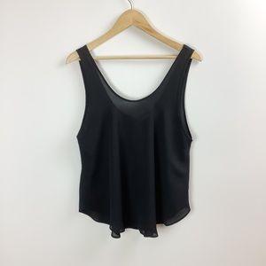 Lush Black Semi-Sheer Loose Fit Dressy Tank Top